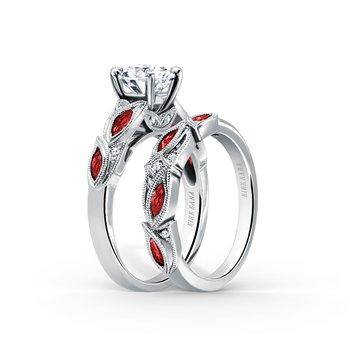 Ruby Floral Diamond Milgrain Engagement Ring