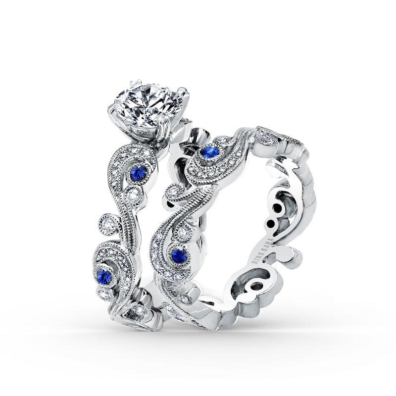 Natural Sapphire Diamond Wedding Band