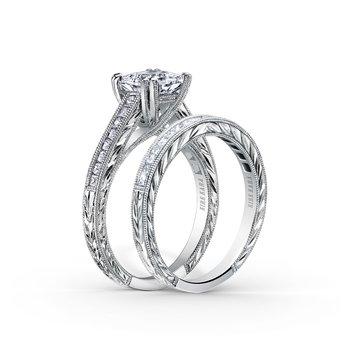 Milgrain Princess Diamond Engagement Ring