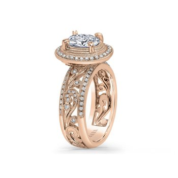 Pave Swirl Diamond Braided Engagement Ring