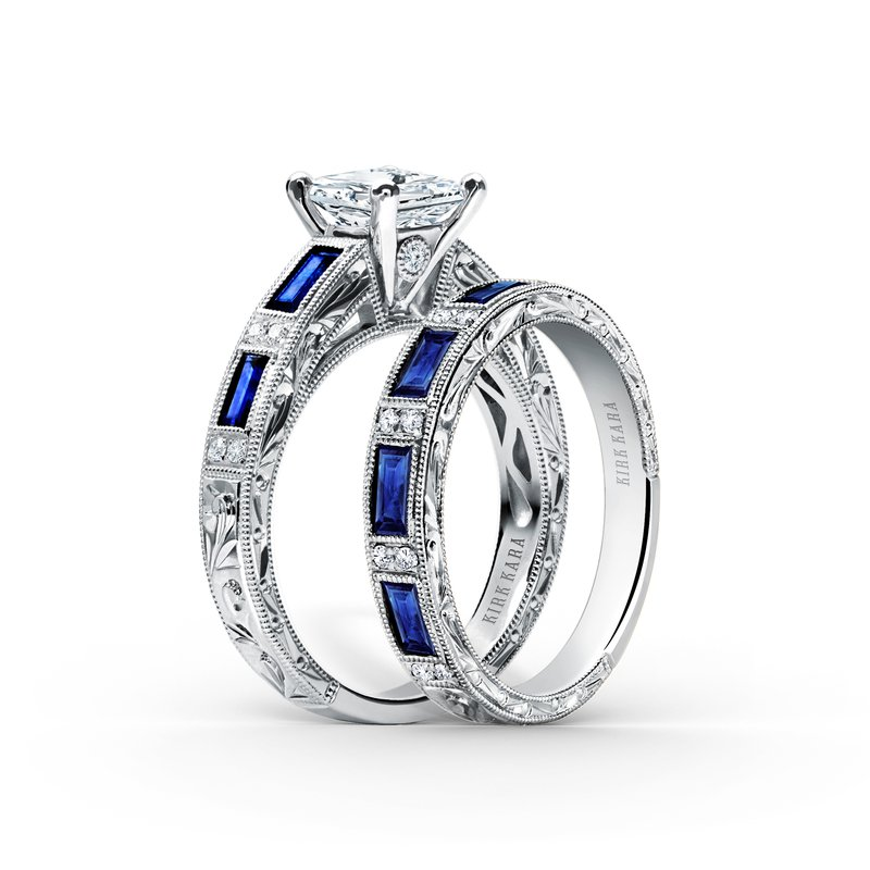 Deco Blue Sapphire Diamond Engagement Ring