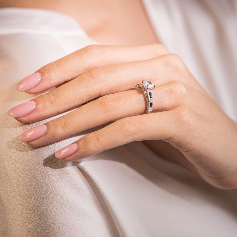 Deco Blue Sapphire Diamond Engagement Ring