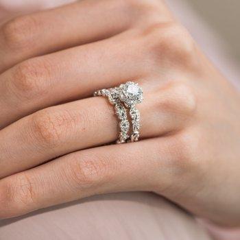 Feminine Halo Diamond Engagement Ring