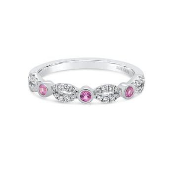 Kirk Kara 14K Pink Sapphire Diamond Wedding Band
