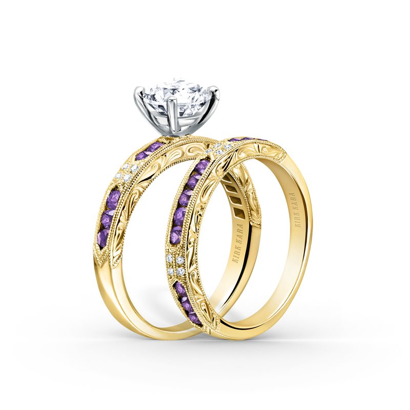 Amethyst Diamond Engraved Engagement Ring