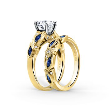 Sapphire Detailed Diamond Wedding Band