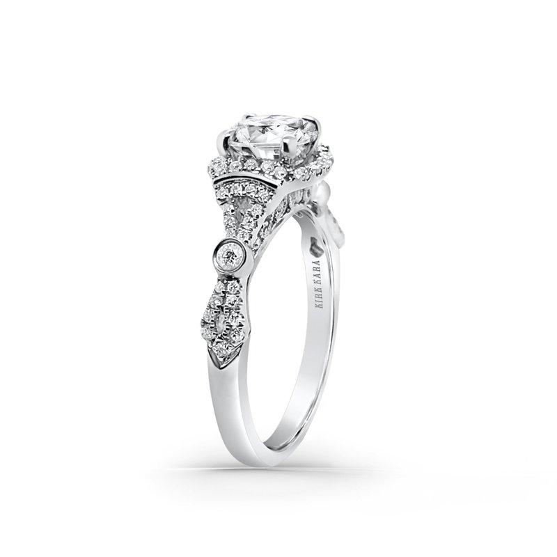 Refined Deco Halo Diamond Engagement Ring