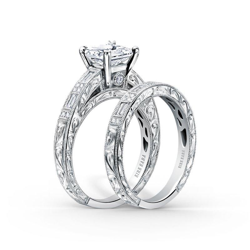 Baguette Diamond Engraved Wedding Band