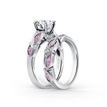Pink Sapphire Diamond Milgrain Wedding Band