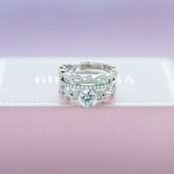Milgrain Poetic Diamond Engagement Ring