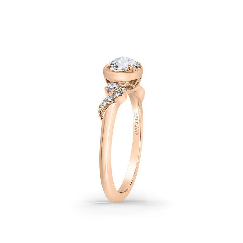 Rose Cut Diamond Swirl Petite Engagement Ring