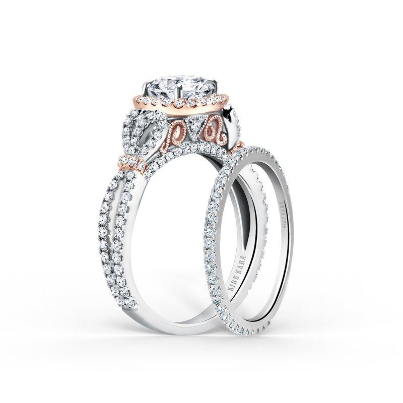 Two Tone Halo Diamond Engagement Ring
