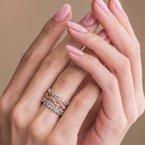 Lace Milgrain Diamond Waves Wedding Band