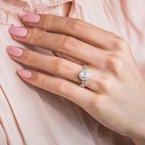Pear Halo Vintage Swirl Diamond Engagement Ring