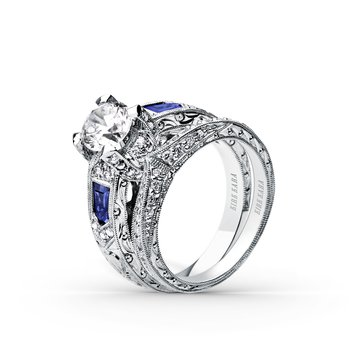 Sapphire Shield Deco Diamond Engagement Ring