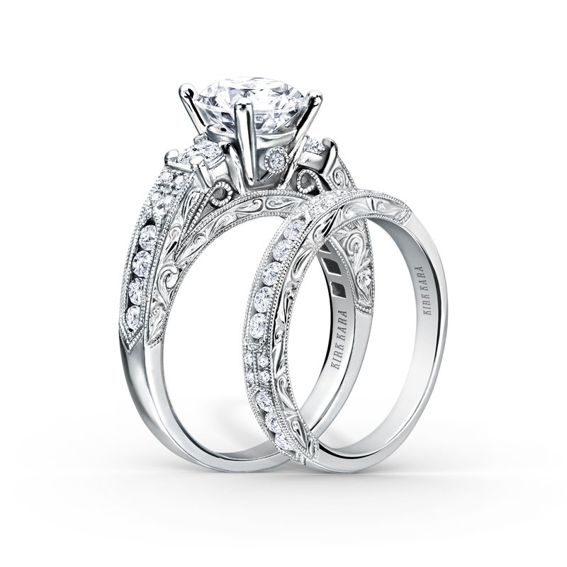 Engraved Deco Diamond Three Stone Engagement Ring