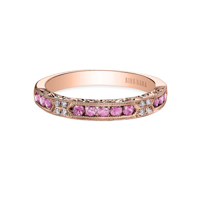 Pink Sapphire Diamond Engraved Engagement Ring