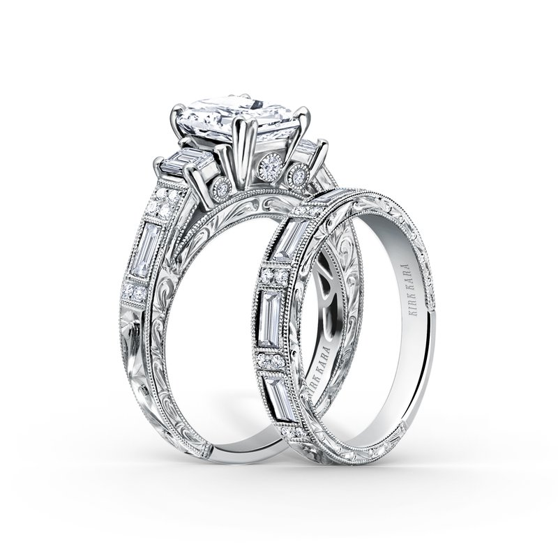 Deco Three Stone Engraved Diamond Engagement Ring