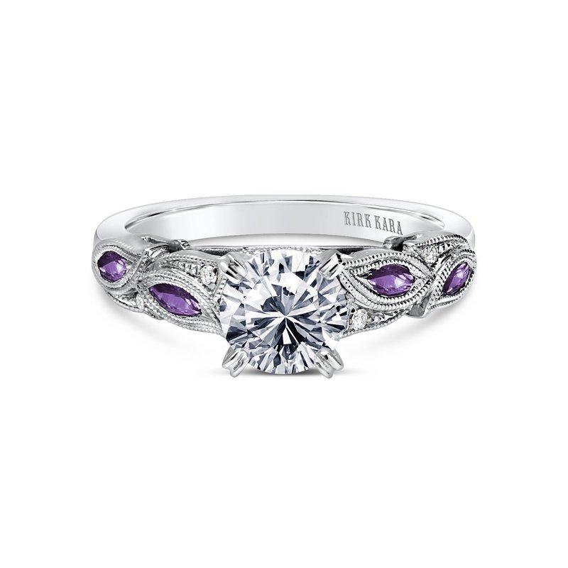 Amethyst Floral Diamond Engagement Ring