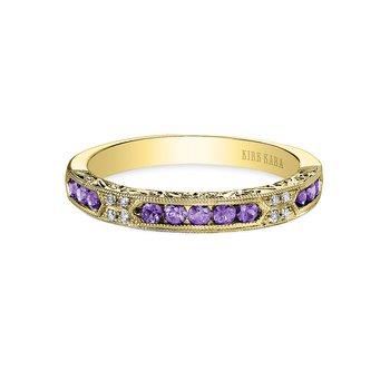 Amethyst Diamond Engraved Wedding Band