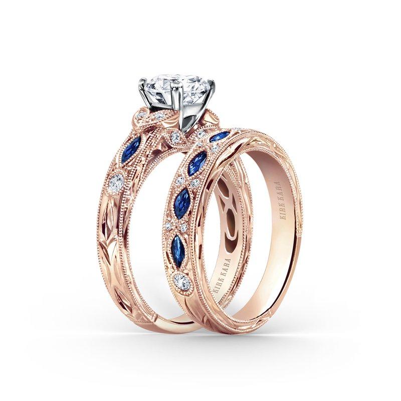 Blue Sapphire Diamond Engraved Engagement Ring