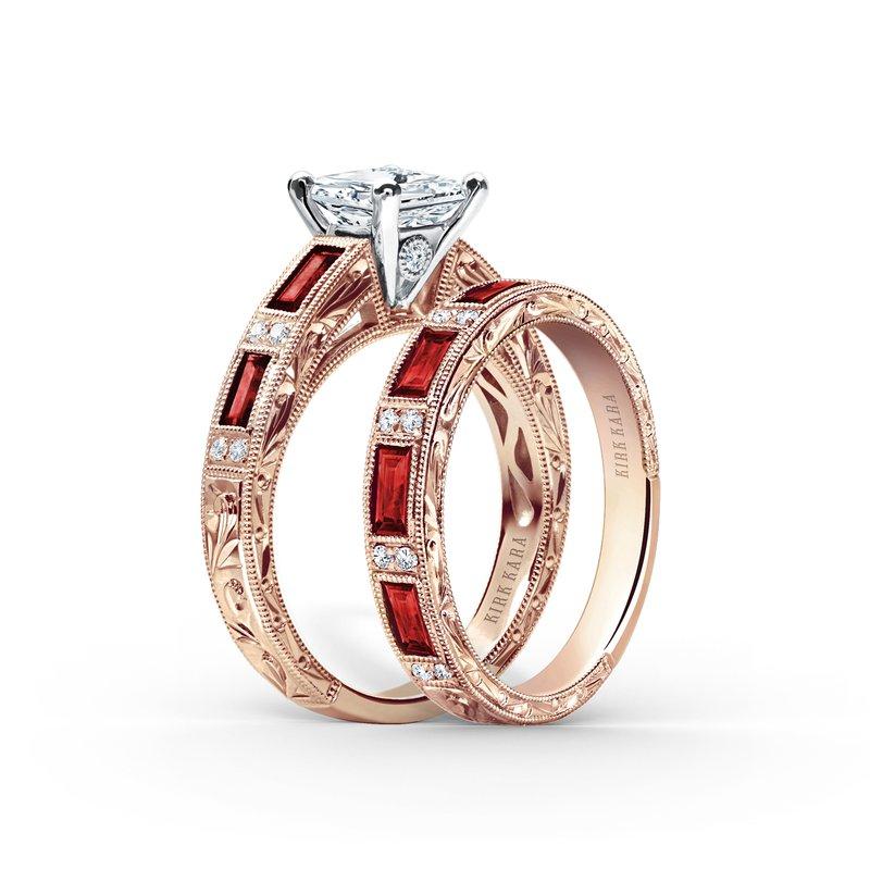 Ruby Colorful Diamond Engraved Wedding Band