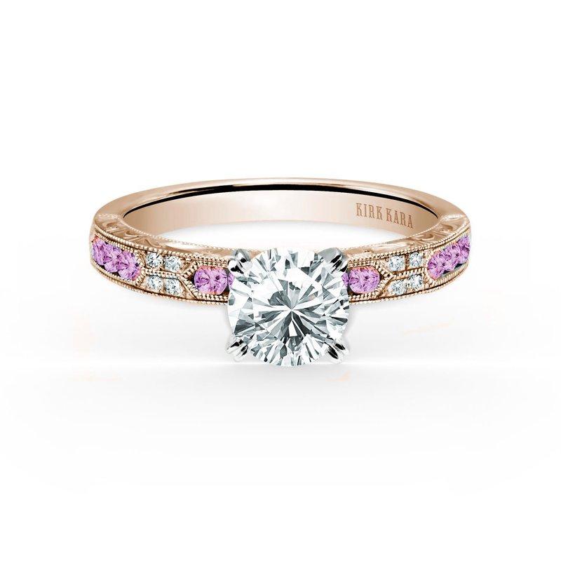 Pink Sapphire Diamond Solitare Engagement Ring