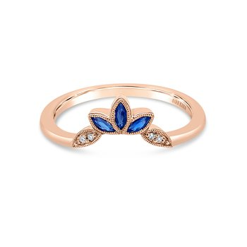 Blue Sapphire Leaf Diamond Wedding Band