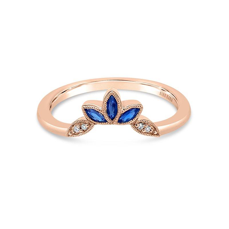 Blue Sapphire Leaf Diamond Wedding Band