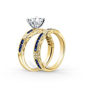 Sapphire Engraved Diamond Wedding Band