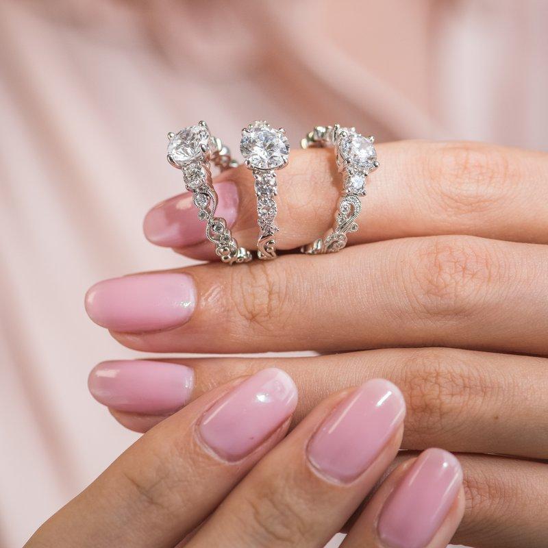 Lace Three Stone Solitare Diamond Engagement Ring
