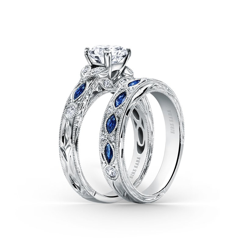 Engraved Sapphire Floral Diamond Wedding Band