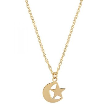 14KY STAR & MOON NECKLACE