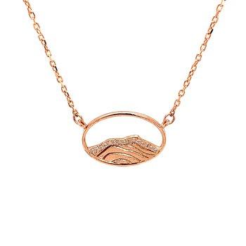 14KR Diamond Mountain Top Necklace