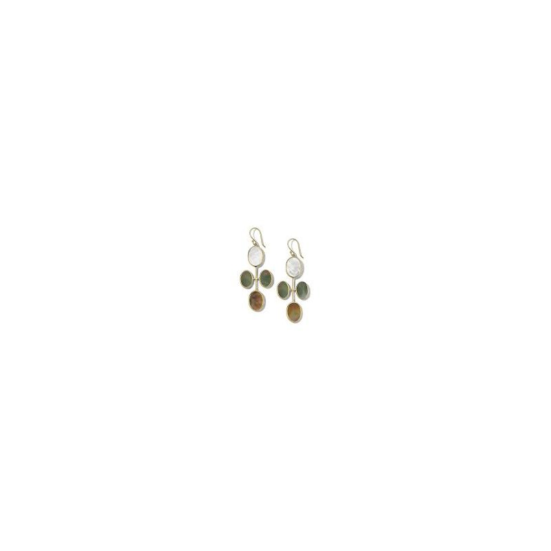 Ippolita Ippolita 18kt Polished Rock Candy elongated oval clover earring in Sabbia. Available at our Halifax store.