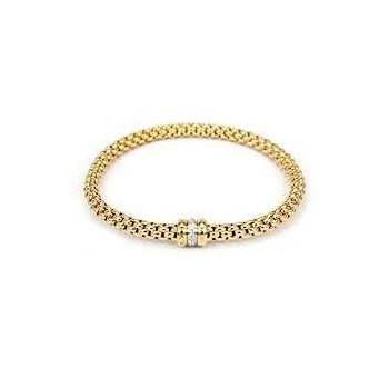 Fope 18Kt Yellow Gold Flex-It Bracelet With 0.10Cts Of Diamonds