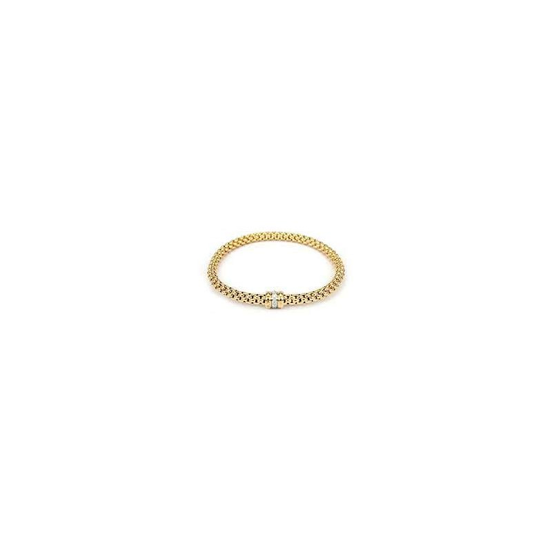Fope Fope 18Kt Yellow Gold Flex-It Bracelet With 0.10Cts Of Diamonds