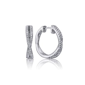 14kt white gold cross over diamond hoops 0.18ct. Available at our Halifax store.