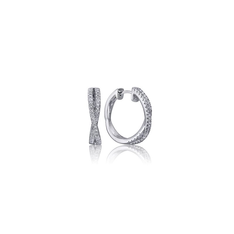 Max Strauss 14kt white gold cross over diamond hoops 0.18ct. Available at our Halifax store.