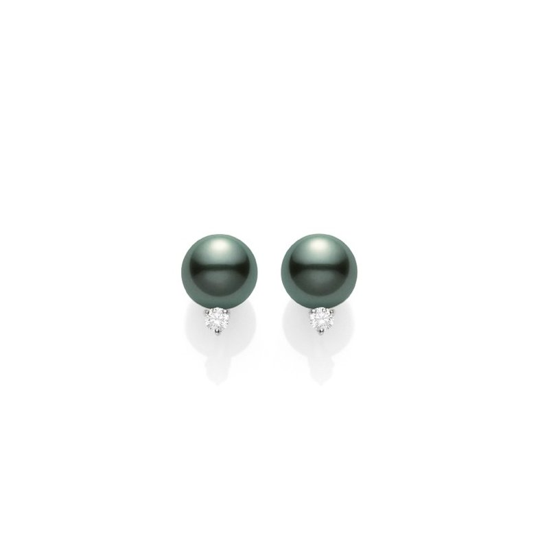 Mikimoto Black South Sea Stud Earrings with Diamonds. Available at our Halifax store.