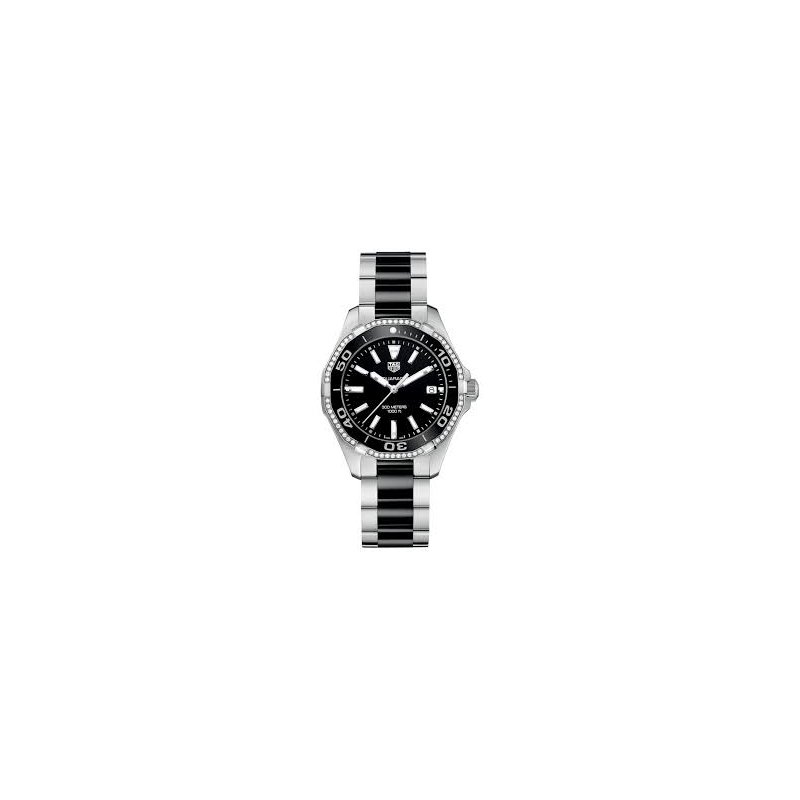 Tag Heuer  Lady Aquaracer In Steel And Black Ceramic. The Quartz 35 mm Watch Has A Ceramic Bezel Insert With Diamond Surround, Black Dial And A Steel And Ceramic Bracelet With Butterfly Clasp. Model WAY131G.
