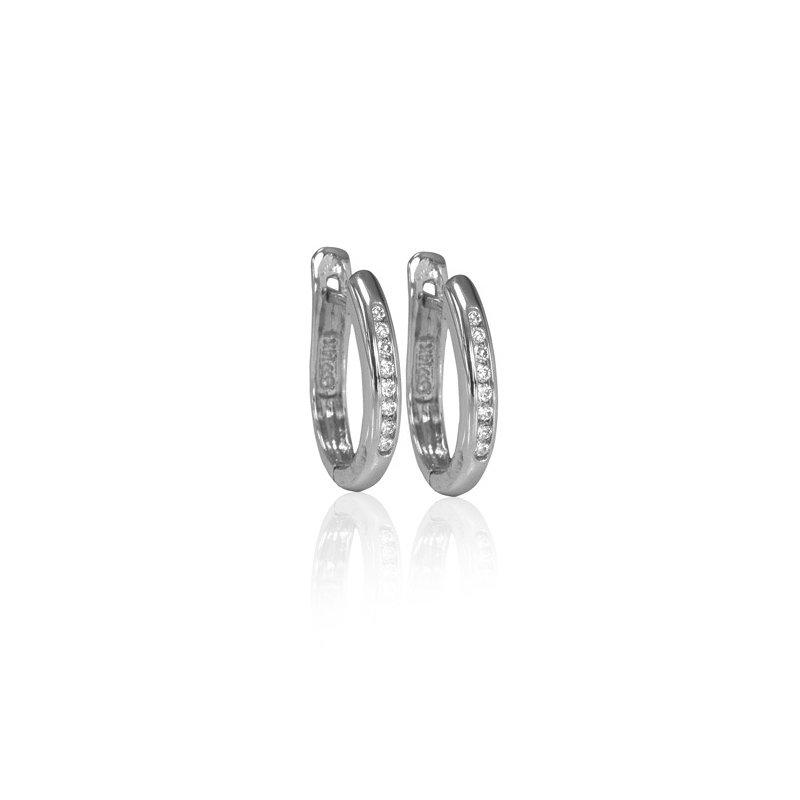 Max Strauss 14kt white gold diamodn hoops 0.15ct. Available at our Halifax store