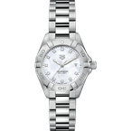 Tag Heuer  Lady Aquaracer In Stainless Steel. The 28 mm Quartz Watch Has A Rotating Bezel, Mother Of Pearl Dial Featuring Diamond Hour Markers And A Steel Bracelet With A Folding Clasp Which Includes A Wet-Suit Extension. Model WBD1414.