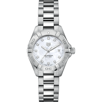 Lady Aquaracer In Stainless Steel. The 28 mm Quartz Watch Has A Rotating Bezel, Mother Of Pearl Dial Featuring Diamond Hour Markers And A Steel Bracelet With A Folding Clasp Which Includes A Wet-Suit Extension. Model WBD1414.
