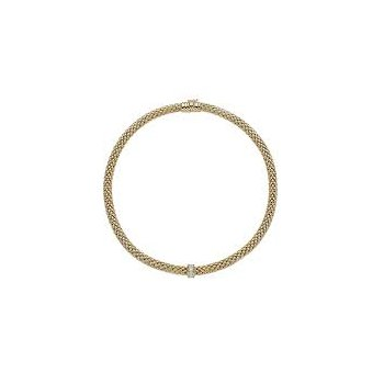 Fope 18Kt Yellow Gold Love Nest Necklace With 0.33Ct Diamonds