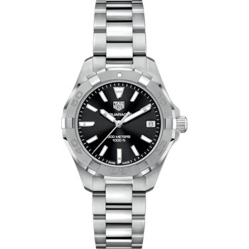 Lady Aquaracer Steel Quartz 32 mm Watch With A Black Dial And A Steel Extension Bracelet. Model WAY1310.