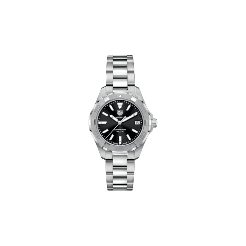 Tag Heuer  Lady Aquaracer Steel Quartz 32 mm Watch With A Black Dial And A Steel Extension Bracelet. Model WAY1310.