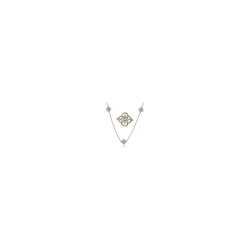 """Simon G Simon G 18kt white and rose gold 35"""" station necklace with 5 diamond set links, 0.20ct.  Available at our Halifax store."""