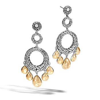 Classic Chain hammered gold & silver circle drop earrings. Available at our Halifax store.