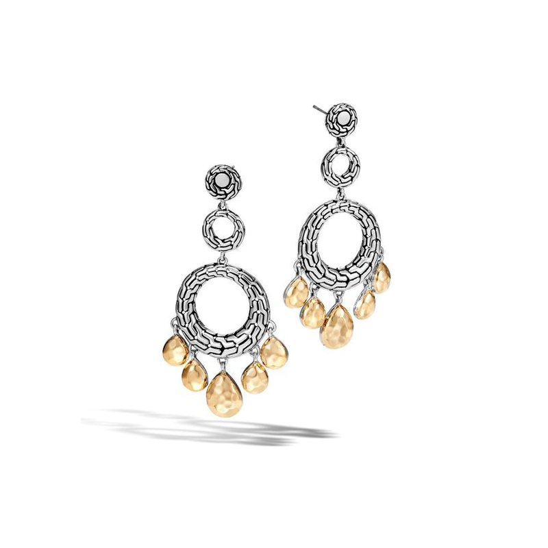 John Hardy Classic Chain hammered gold & silver circle drop earrings. Available at our Halifax store.
